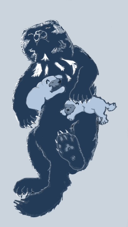 A photoshop sketch of a wolverine mom and kits in their snow den, made several years ago and scrapped because it was way too cute, and the kits look weird (also, these guys are a few weeks old, not newborns.) But whatever. Happy Wolverine Birthday.